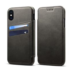 Suteni Retro Classic Card Slots PU Leather Wallet Case for iPhone XS / iPhone X(5.8 inch) - Dark Gray