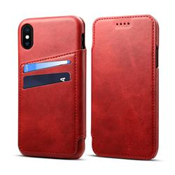 Suteni Retro Classic Card Slots PU Leather Wallet Case for iPhone XS / iPhone X(5.8 inch) - Red