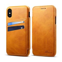 Suteni Retro Classic Card Slots PU Leather Wallet Case for iPhone XS / iPhone X(5.8 inch) - Khaki