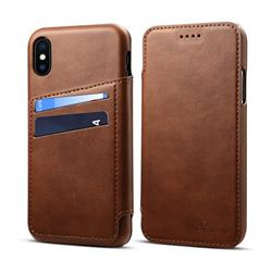 Suteni Retro Classic Card Slots PU Leather Wallet Case for iPhone XS / iPhone X(5.8 inch) - Brown