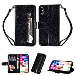 Glitter Shine Leather Zipper Wallet Phone Case for iPhone XS / iPhone X(5.8 inch) - Black