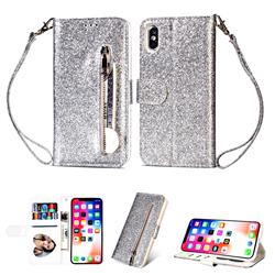Glitter Shine Leather Zipper Wallet Phone Case for iPhone XS / iPhone X(5.8 inch) - Silver