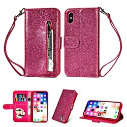 Glitter Shine Leather Zipper Wallet Phone Case for iPhone XS / iPhone X(5.8 inch) - Rose