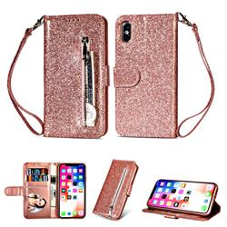 Glitter Shine Leather Zipper Wallet Phone Case for iPhone XS / iPhone X(5.8 inch) - Pink