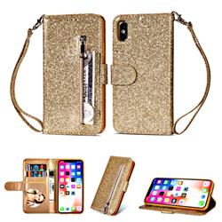 Glitter Shine Leather Zipper Wallet Phone Case for iPhone XS / iPhone X(5.8 inch) - Gold