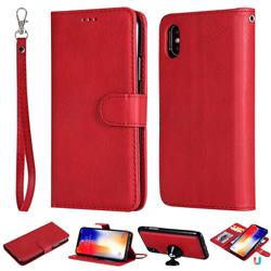 Retro Greek Detachable Magnetic PU Leather Wallet Phone Case for iPhone XS / iPhone X(5.8 inch) - Red