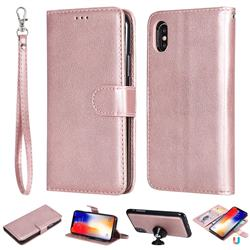 Retro Greek Detachable Magnetic PU Leather Wallet Phone Case for iPhone XS / iPhone X(5.8 inch) - Rose Gold