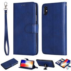 Retro Greek Detachable Magnetic PU Leather Wallet Phone Case for iPhone XS / iPhone X(5.8 inch) - Blue