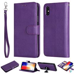 Retro Greek Detachable Magnetic PU Leather Wallet Phone Case for iPhone XS / iPhone X(5.8 inch) - Purple