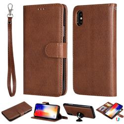 Retro Greek Detachable Magnetic PU Leather Wallet Phone Case for iPhone XS / iPhone X(5.8 inch) - Brown