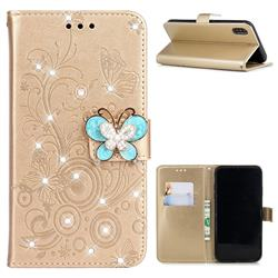 Embossing Butterfly Circle Rhinestone Leather Wallet Case for iPhone XS / iPhone X(5.8 inch) - Champagne
