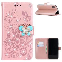 Embossing Butterfly Circle Rhinestone Leather Wallet Case for iPhone XS / iPhone X(5.8 inch) - Rose Gold