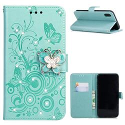 Embossing Butterfly Circle Rhinestone Leather Wallet Case for iPhone XS / iPhone X(5.8 inch) - Cyan