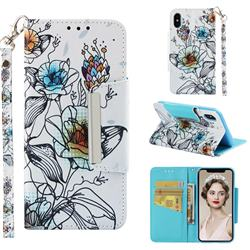 Fotus Flower Big Metal Buckle PU Leather Wallet Phone Case for iPhone XS / iPhone X(5.8 inch)