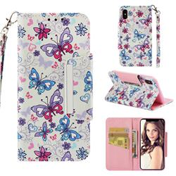 Colored Butterfly Big Metal Buckle PU Leather Wallet Phone Case for iPhone XS / iPhone X(5.8 inch)