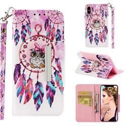 Owl Wind Chimes Big Metal Buckle PU Leather Wallet Phone Case for iPhone XS / iPhone X(5.8 inch)