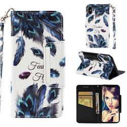 Peacock Feather Big Metal Buckle PU Leather Wallet Phone Case for iPhone XS / iPhone X(5.8 inch)