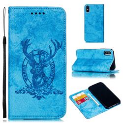 Retro Intricate Embossing Elk Seal Leather Wallet Case for iPhone XS / iPhone X(5.8 inch) - Blue
