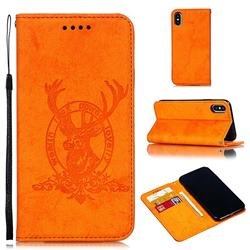 Retro Intricate Embossing Elk Seal Leather Wallet Case for iPhone XS / iPhone X(5.8 inch) - Orange
