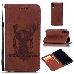 Retro Intricate Embossing Elk Seal Leather Wallet Case for iPhone XS / iPhone X(5.8 inch) - Brown