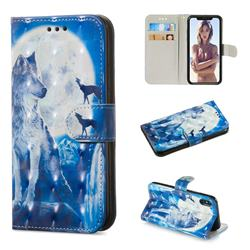 Ice Wolf 3D Painted Leather Wallet Phone Case for iPhone XS / iPhone X(5.8 inch)