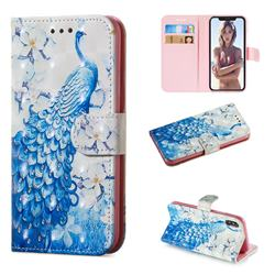 Blue Peacock 3D Painted Leather Wallet Phone Case for iPhone XS / iPhone X(5.8 inch)