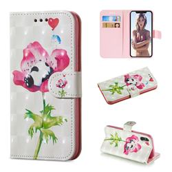 Flower Panda 3D Painted Leather Wallet Phone Case for iPhone XS / iPhone X(5.8 inch)