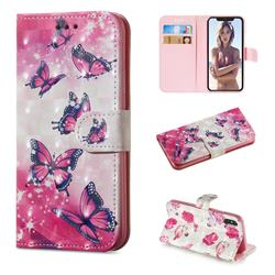 Pink Butterfly 3D Painted Leather Wallet Phone Case for iPhone XS / iPhone X(5.8 inch)