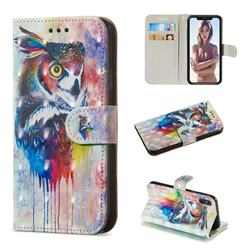 Watercolor Owl 3D Painted Leather Wallet Phone Case for iPhone XS / iPhone X(5.8 inch)