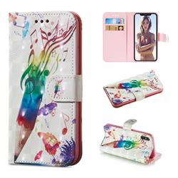 Music Pen 3D Painted Leather Wallet Phone Case for iPhone XS / iPhone X(5.8 inch)