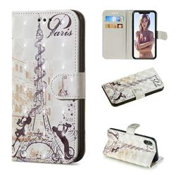 Tower Couple 3D Painted Leather Wallet Phone Case for iPhone XS / iPhone X(5.8 inch)