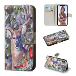Elk Deer 3D Painted Leather Wallet Phone Case for iPhone XS / iPhone X(5.8 inch)