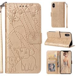Embossing Fireworks Elephant Leather Wallet Case for iPhone XS / iPhone X(5.8 inch) - Golden