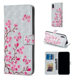 Butterfly Sakura Flower 3D Painted Leather Phone Wallet Case for iPhone XS / iPhone X(5.8 inch)