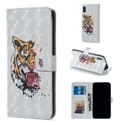 Toothed Tiger 3D Painted Leather Phone Wallet Case for iPhone XS / iPhone X(5.8 inch)
