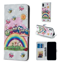 Rainbow Owl Family 3D Painted Leather Phone Wallet Case for iPhone XS / iPhone X(5.8 inch)