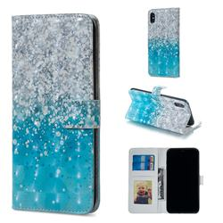 Sea Sand 3D Painted Leather Phone Wallet Case for iPhone XS / iPhone X(5.8 inch)
