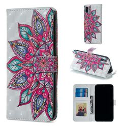 Mandara Flower 3D Painted Leather Phone Wallet Case for iPhone XS / iPhone X(5.8 inch)