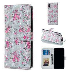 Roses Flower 3D Painted Leather Phone Wallet Case for iPhone XS / iPhone X(5.8 inch)