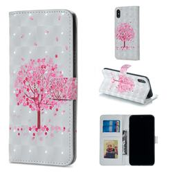 Sakura Flower Tree 3D Painted Leather Phone Wallet Case for iPhone XS / iPhone X(5.8 inch)
