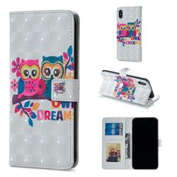 Couple Owl 3D Painted Leather Phone Wallet Case for iPhone XS / iPhone X(5.8 inch)