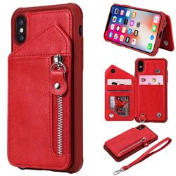 Classic Luxury Buckle Zipper Anti-fall Leather Phone Back Cover for iPhone XS / iPhone X(5.8 inch) - Red