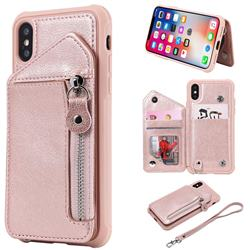 Classic Luxury Buckle Zipper Anti-fall Leather Phone Back Cover for iPhone XS / iPhone X(5.8 inch) - Pink