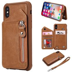 Classic Luxury Buckle Zipper Anti-fall Leather Phone Back Cover for iPhone XS / iPhone X(5.8 inch) - Brown