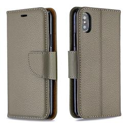 Classic Luxury Litchi Leather Phone Wallet Case for iPhone XS / iPhone X(5.8 inch) - Gray
