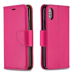 Classic Luxury Litchi Leather Phone Wallet Case for iPhone XS / iPhone X(5.8 inch) - Rose
