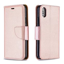 Classic Luxury Litchi Leather Phone Wallet Case for iPhone XS / iPhone X(5.8 inch) - Golden