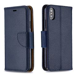 Classic Luxury Litchi Leather Phone Wallet Case for iPhone XS / iPhone X(5.8 inch) - Blue