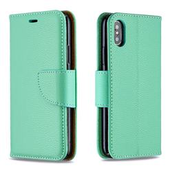 Classic Luxury Litchi Leather Phone Wallet Case for iPhone XS / iPhone X(5.8 inch) - Green