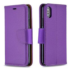 Classic Luxury Litchi Leather Phone Wallet Case for iPhone XS / iPhone X(5.8 inch) - Purple